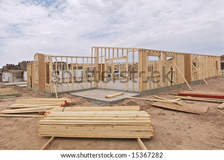 Building material at construction site.
