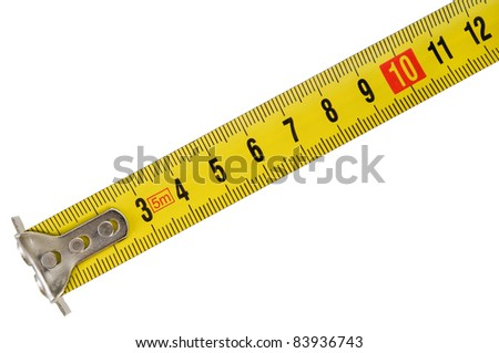 building measuring tools (tape) on a white background - stock photo