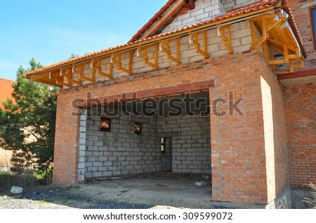 Building new garage. - stock photo