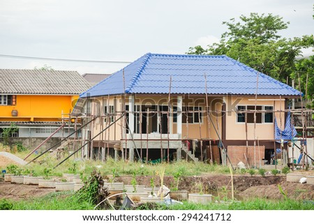 Building new house site - stock photo