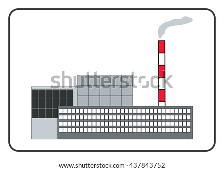 Building of a factory in the frame. Flat style. Icon, isolated on white background. Industrial manufacturing. Detailed modern sign. Symbol of industry, and plant. Design element. illustration.