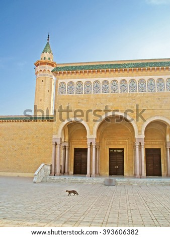 Building of a mosque is named after the first President Habib Bourguiba in center of Monastir city, Tunisia - stock photo