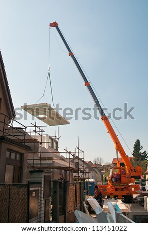 Building of a new modular low energy house - stock photo
