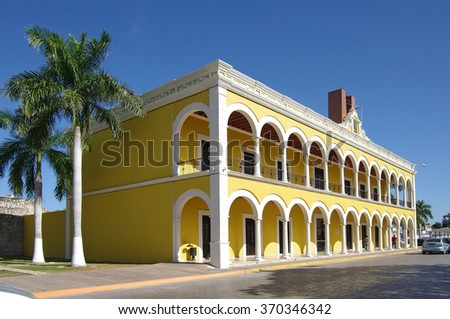 Building of Campeche Public State Library in Mexico - stock photo