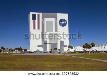 Building of Nasa, Kennedy space centre, Florida, USA.  1 NOVEMBER 2014. FLORIDA  - stock photo