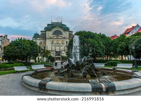 Building of National Theatre in slovakian city Kosice with fountains in front of it - stock photo