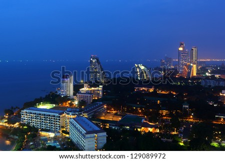 Building of the Pattaya City in the beautiful evening light - stock photo