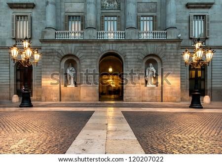 Building on Plaza de la Constitucion, Barcelona - stock photo