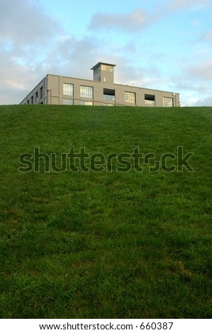 building on the green - stock photo
