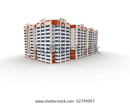 building on white background, 3D render.