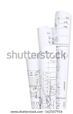 Building plans for house building - stock photo