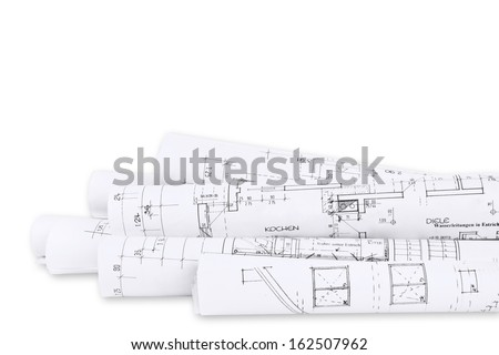 Building plans, isolated - stock photo