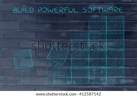 building powerful software: men lifting blocks with messy binary code, metaphor illustration