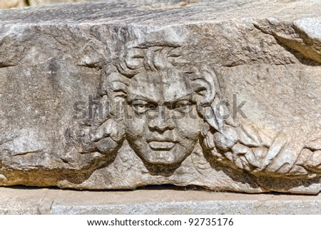 Building relief detail of architectural frieze in Aphrodisias (Turkey) build during Roman period.