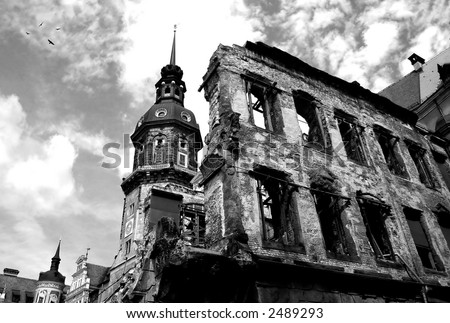 Building remains and ruins after World War II in Dresden, Germany. - stock photo