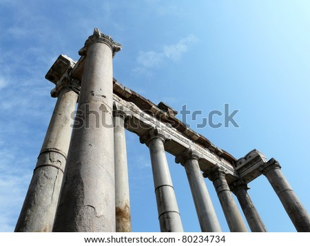Building ruins and ancient columns at the Roman Forum in Rome, Italy - stock photo