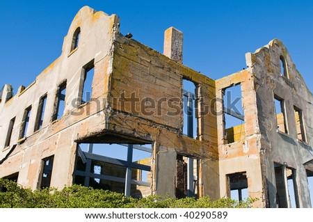 Building shell, Alcatraz Penitentiary, Alcatraz Island, San Francisco Bay, California - stock photo