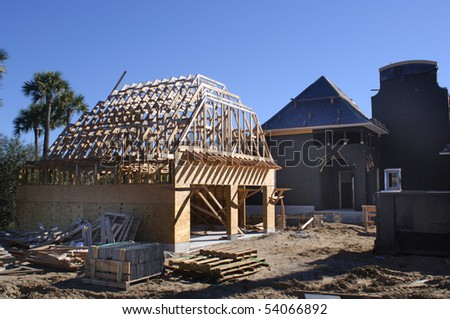 Building site garage at the house - stock photo