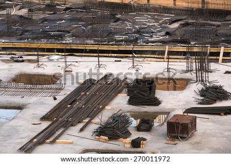 Building site reinforcement on floor slab - stock photo