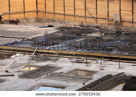 Building site wellpoints system drainage - stock photo