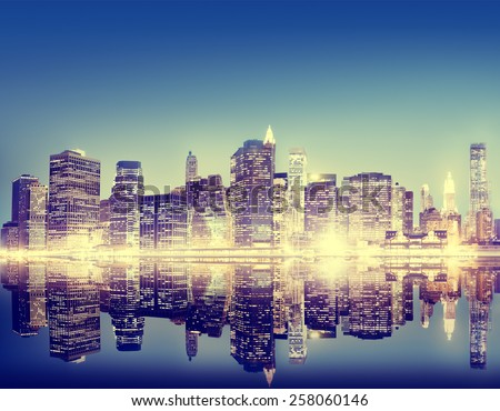 Building Skyscraper Panoramic Night New York City Concept - stock photo