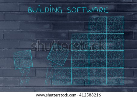 building software: men lifting blocks with messy binary code, metaphor illustration
