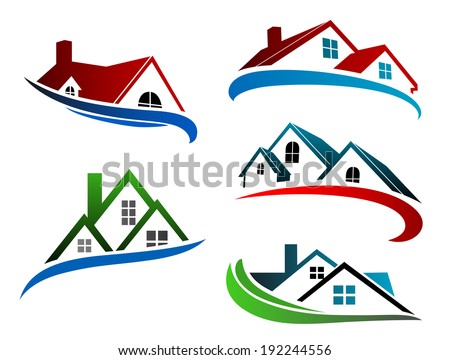 Building symbols with home roofs for real estate logo business design. Vector version also available in gallery - stock photo