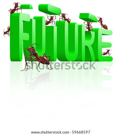 building the future innovate and create progress ants building word - stock photo