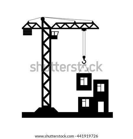 Building Tower crane icon, flat design. Raster copy of vector file - stock photo