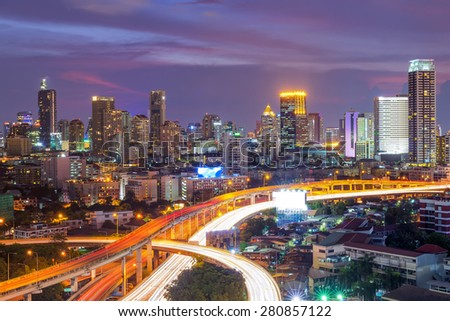 Building views of Bangkok's business district and expressway. - stock photo