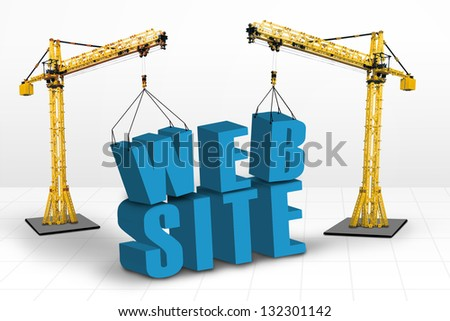Building website concept, isolated on white