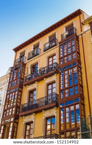 Building with beautiful balconies in Valladolid, Spain