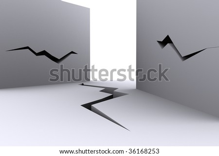 building with cracked walls concept. rendered image - stock photo