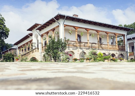 building with rooms in Varatec Monastery, Moldavia, Romania