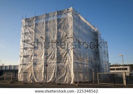 Building with scaffolding all over