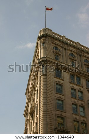 Building with US flag - stock photo