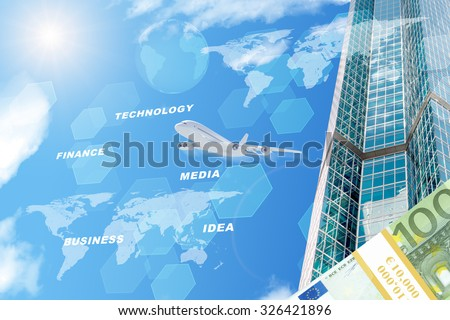 Building with world map and money on blue sky background