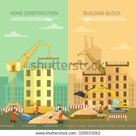 Stock Vector Illustration House Architecture Cottage Stock: home building process