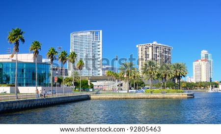 Buildings along the skyline of St. Petersburg, Florida. - stock photo