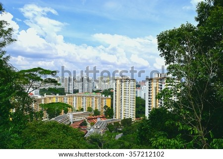 Buildings among nature