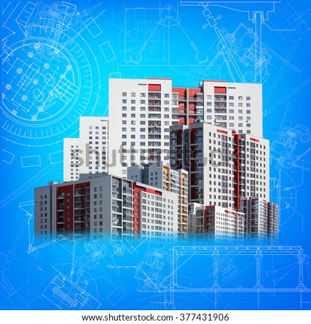 Buildings and blueprint  - stock photo