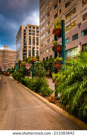 Buildings and landscaping along a street in Orlando, Florida. - stock photo