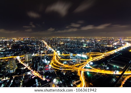 buildings and main road in bangkok,thailand - stock photo