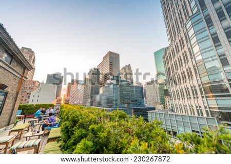 Buildings and roof garden in Manhattan. Amazing view at sunset in New York City. - stock photo
