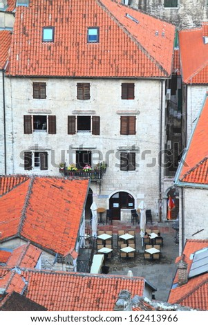 Buildings and square in the old town of Kotor seen from above