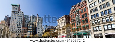 Buildings around Union Square Park in Manhattan, New York City - stock photo