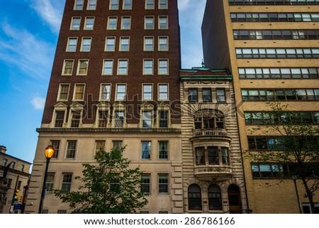 Buildings at Rittenhouse Square in Philadelphia, Pennsylvania. - stock photo