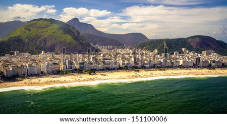 Buildings at the waterfront, Copacabana Beach, Rio de Janeiro, Brazil - stock photo