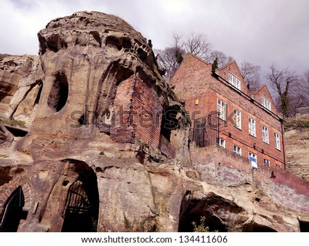 Buildings built into the sandstone formations near Nottingham Castle