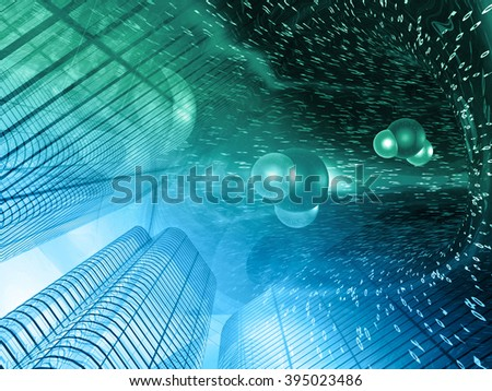 Buildings, digits and molecules - abstract computer background in greens and blues. - stock photo